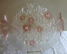 VINTAGE MIKASA PINK ROSELLA CRYSTAL GLASS ROUND CAKE PLATE PLATTER 13 3/4""
