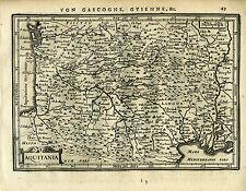 1651 Genuine Antique map southern France, Aquitania. Mercator Jansson