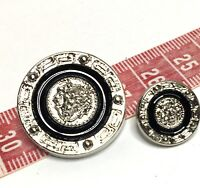 Round Silver Metallic / Black Lion Tiger Versace Head Shank Buttons 26mm
