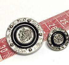 Round Silver Metallic / Black Lion Tiger Versace Head Shank Buttons 16mm