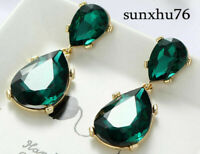 Women Fashion Green Crystal Rhinestone Ear Drop Dangle Stud long Earrings New