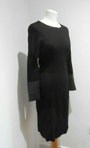 COS black long sleeves faux leather fitted midi dress S 8 10 VGC modest smart