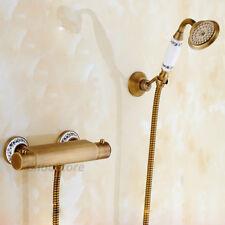 Ceramic Art Antique Brass Thermostatic Bath Mixer Valve Faucet Tap Shower Set