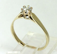 Vintage diamond solitaire engagement ring yellow rose gold round brilliant .27CT