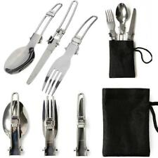 New 3-in-1 Universal Outdoor Travel Camping Utensil Set Knife, Fork, Spoon SG