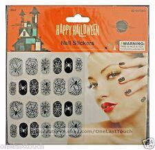 MOMENTUM BRANDS 24pc Nail Stickers SPIDER+WEB Black+Gray HAPPY HALLOWEEN 4/6