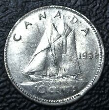 OLD CANADIAN COIN - 1968 - 10 CENTS DIME - SILVER - ERROR - Elizabeth II-CLIPPED