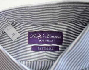 $595 NEW RALPH LAUREN PURPLE LABEL Stripe SARTORIAL Dress Shirt 15.5 16 16.5 17