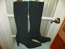 Antonio Melani Tall Black Stretch Fabric Boots - Womens Size 10 M