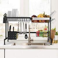 Kitchen Sink Drain Rack Shelf Stainless Steel Dish Cutlery Drainer Storage USA