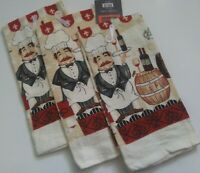 3 Pc Fat Chef Wine Kitchen Linens Dishtowels Kitchen Home Decor by vip Chef