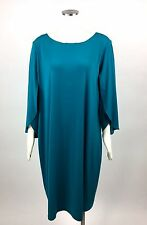 Calvin Klein Womens Teal Dress Slit 3/4 Sleeves Sheath Plus 18W 2X Stretch C6