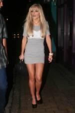 RARE @ Topshop Grey Lace Corset Front Short Sleeve Bodycon Mini Dress Size 6-8
