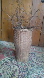 "Antique Early Handmade Wood Splint Shaker Style Basket Rare Tall Vase Form 10"""