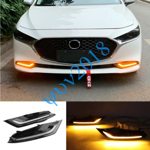 LED DRL Daytime Running Lights Fog Lamp w/Turn Signal For Mazda 3 2019-2021 c