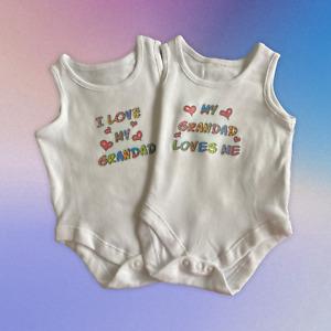Baby Vests. Set of 2. 'My Grandad Loves Me' and 'I Love My Grandad'.