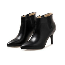Womens Ladies Solid Color Pointed Toes Shoes Stiletto Heel Ankle Boots UKB897