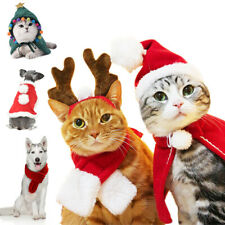 Cat Dog Christmas Outfit Costumes Reindeer Cape Headgear Pet Xmas Clothes Coat