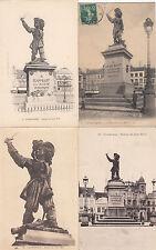 Lot 4 cartes postales ancienne DUNKERQUE statue jean bart 2