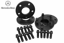 4pc Mercedes Benz W204 Wheel Spacers 15mm Thick W/ Black 14x1.5 Extended Bolts