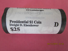 2015 (D) Dwight D. Eisenhower Presidential One Dollar, 25-Coin Roll-Ship Now!!!