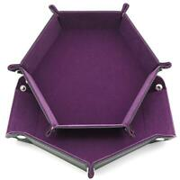 Dice Board Games Hexagon PU Leather Collapsible Rolling Tray LJ