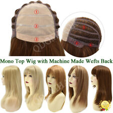 Women Mono Top Full Wig Synthetic Monofilament Wig with Wefts Back Straight Hair