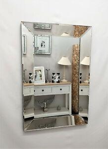 Mulan Modern Art Deco Plain Glass Design Bevelled Wall Mirror 90x60cm Silver
