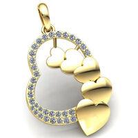 Genuine 0.5ctw Round Cut Diamond Ladies Heart Pendant 10K Gold