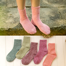 5 Pairs Womens Wool Cashmere Winter Casual Thick Warm Soft Solid Socks Lot 5-9