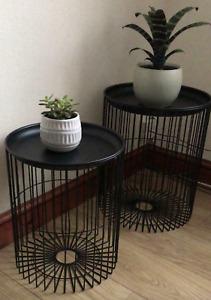 Side Table Black Metal Side Table - Set of 2 Coffee Table