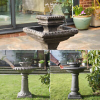 Solar Power Water Fountain Feature Outdoor Traditional Stone Effect Bird Bath