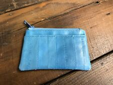 Genuine Eel Skin Leather Purse Blue Credit Card Coin Note Zip Fastening Light