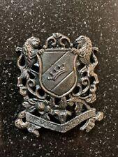 Mon Droit Brass Badge? Brooch? Staff? Antique Early? British Coat Arms Dieu Et