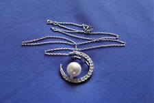 STERLING SILVER WHITE TOPAZ & PEARL MOON PENDANT & CHAIN - LOVELY ***