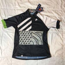 Champion System Womens Cycling Shirt Black White Full Zipper Short Sleeve L New