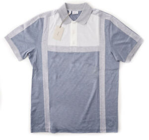 NWT $680 BRIONI Slate Blue and Gray Patterned Superfine Cotton Polo Shirt S
