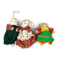Porcelain Cloth Cat Christmas 3 Ornaments Vintage Red Plaid Dress Green Overalls