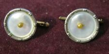Two LARTER 1920 Rolled Gold Plate MOTHER OF PEARL & SEED PEARL Cuff Link Studs