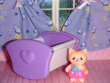Purple White Cradle w/Kitty Cat Lot fits Fisher Price Loving Family Dollhouse