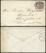 GB QV 1886 to DENMARK HUMBLE...LONDON SCROLL V 2 1/2d VERY FINE