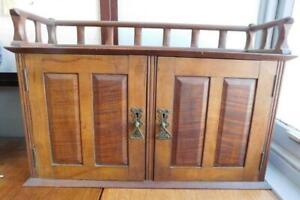 Beautiful 2 Door Shelf Cabinet Small Cupboard with Gallery Top c1890s