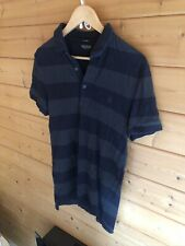 All Saints Mens Striped Polo Shirt Size Small - Very Good Condition