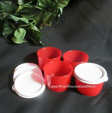Tupperware NEW RED Lunch SNACK CUP CUPS Set of 4 Bowl White Lids Seals