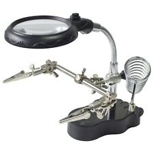 Soldering Iron Stand with LED Helping Hands Magnifying Glass Crocodile Clip S288