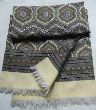 DOUBLE-SEWN LIGHTWEIGHT SCARF RETRO MOD 1960s 1970s CREAM BROWN BLACK FRINGED