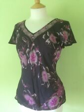 Autonomy Purple Semi Sheer Lined Embroudered Beaded Floral Top S 10