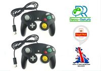 2X Black Nintendo Gamecube Controller Fits Official GC & Wii Console - UK Seller