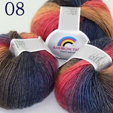 AIP Soft Cashmere Wool Colorful Rainbow Shawl DIY Hand Knitting Yarn 50grx3 08