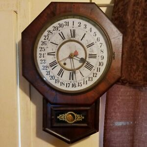 ANTIQUE NEW HAVEN TIME PIECE WALL REGULATOR CLOCK 8-DAY